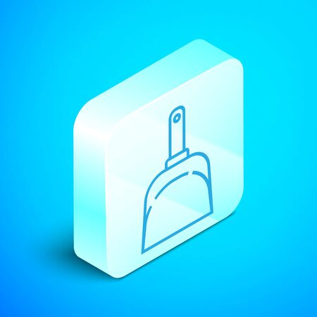 Isometric line Dustpan icon isolated on blue background. Cleaning scoop services. Silver square button. Vector Illustration Standard-Bild - 133852474