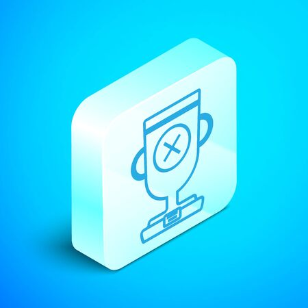 Isometric line Award cup icon isolated on blue background. Winner trophy symbol. Championship or competition trophy. Sports achievement sign. Silver square button. Vector Illustration