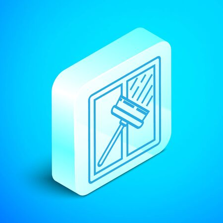 Isometric line Cleaning service with of rubber cleaner for windows icon isolated on blue background. Squeegee, scraper, wiper. Silver square button. Vector Illustration Standard-Bild - 133852480