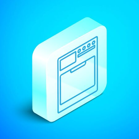 Isometric line Washer icon isolated on blue background. Washing machine icon. Clothes washer - laundry machine. Home appliance symbol. Silver square button. Vector Illustration Stock Illustratie