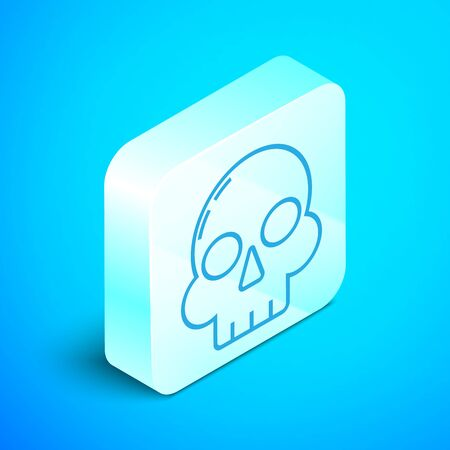 Isometric line Skull icon isolated on blue background. Happy Halloween party. Silver square button. Vector Illustration
