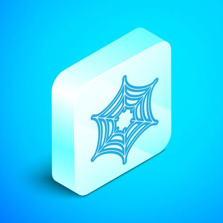 Isometric line Spider web icon isolated on blue background. Cobweb sign. Happy Halloween party. Silver square button. Vector Illustration Ilustrace