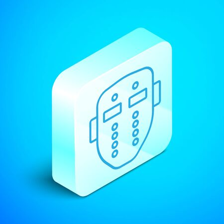 Isometric line Hockey mask icon isolated on blue background. Happy Halloween party. Silver square button. Vector Illustration