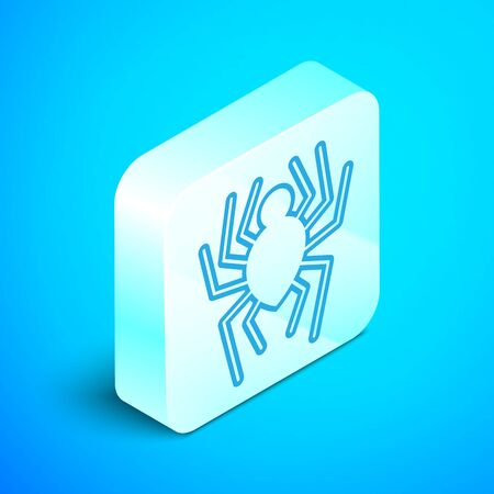 Isometric line Spider icon isolated on blue background. Happy Halloween party. Silver square button. Vector Illustration