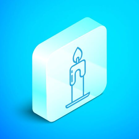 Isometric line Burning candle icon isolated on blue background. Cylindrical aromatic candle stick with burning flame. Happy Halloween party. Silver square button. Vector Illustration
