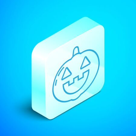 Isometric line Pumpkin icon isolated on blue background. Happy Halloween party. Silver square button. Vector Illustration