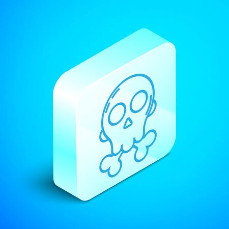 Isometric line Skull on crossbones icon isolated on blue background. Happy Halloween party. Silver square button. Vector Illustration Ilustrace