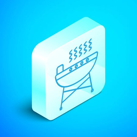 Isometric line Barbecue grill icon isolated on blue background. BBQ grill party. Silver square button. Vector Illustration