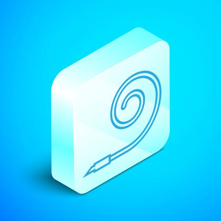 Isometric line Birthday party horn icon isolated on blue background. Silver square button. Vector Illustration Illusztráció