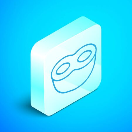 Isometric line Festive mask icon isolated on blue background. Silver square button. Vector Illustration