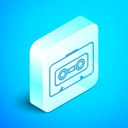 Isometric line Retro audio cassette tape icon isolated on blue background. Silver square button. Vector Illustration