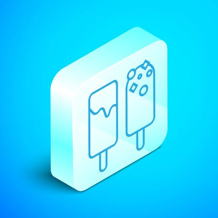 Isometric line Ice cream icon isolated on blue background. Sweet symbol. Silver square button. Vector Illustration