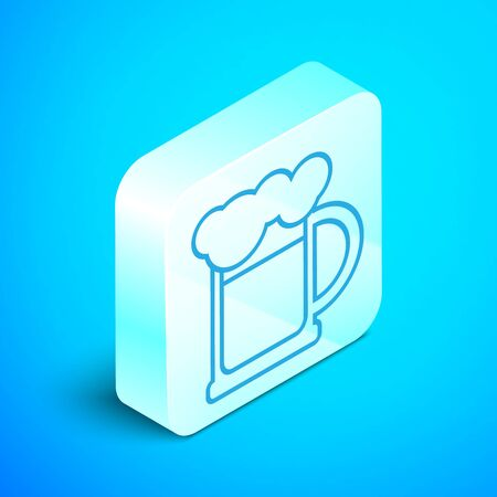 Isometric line Wooden beer mug icon isolated on blue background. Silver square button. Vector Illustration