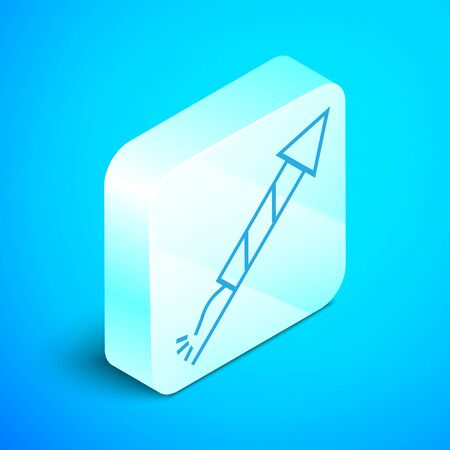 Isometric line Firework rocket icon isolated on blue background. Concept of fun party. Explosive pyrotechnic symbol. Silver square button. Vector Illustration