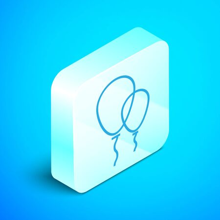 Isometric line Balloons with ribbon icon isolated on blue background. Silver square button. Vector Illustration