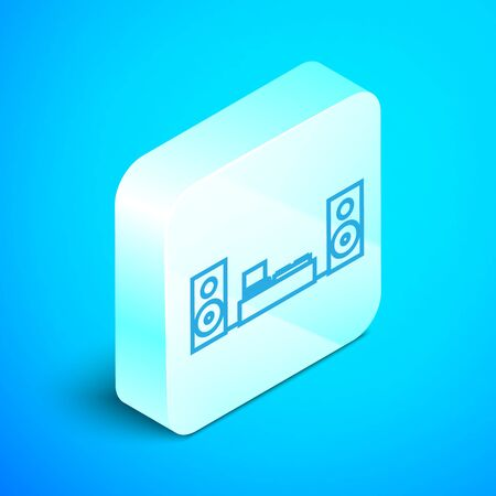 Isometric line Home stereo with two speaker s icon isolated on blue background. Music system. Silver square button. Vector Illustration