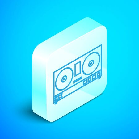 Isometric line DJ remote for playing and mixing music icon isolated on blue background. DJ mixer complete with vinyl player and remote control. Silver square button. Vector Illustration Ilustrace