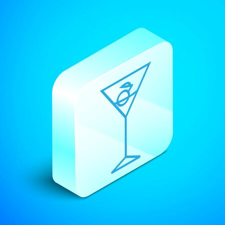 Isometric line Martini glass icon isolated on blue background. Cocktail icon. Wine glass icon. Silver square button. Vector Illustration Illustration