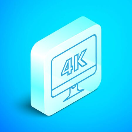 Isometric line Computer PC monitor display with 4k video technology icon isolated on blue background. Silver square button. Vector Illustration