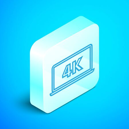 Isometric line Laptop screen with 4k video technology icon isolated on blue background. Silver square button. Vector Illustration