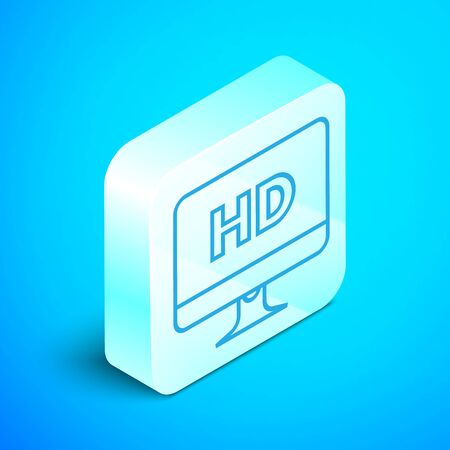 Isometric line Computer PC monitor display with HD video technology icon isolated on blue background. Silver square button. Vector Illustration Illusztráció
