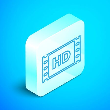 Isometric line 4k movie, tape, frame icon isolated on blue background. Silver square button. Vector Illustration Ilustrace