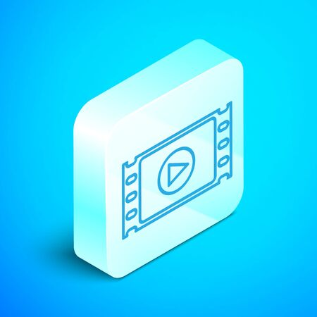 Isometric line Play Video icon isolated on blue background. Film strip with play sign. Silver square button. Vector Illustration