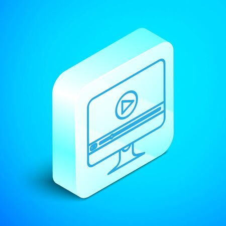 Isometric line Online play video icon isolated on blue background. Computer monitor and film strip with play sign. Silver square button. Vector Illustration Illustration