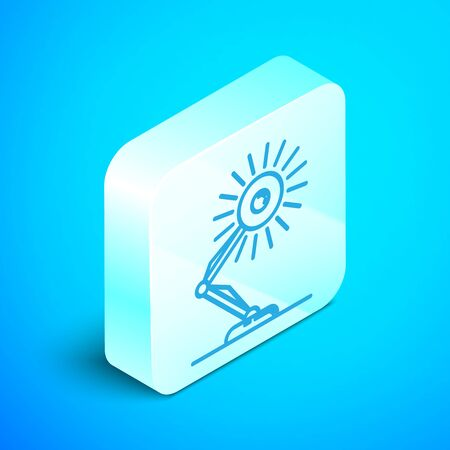 Isometric line Table lamp icon isolated on blue background. Table office lamp. Silver square button. Vector Illustration