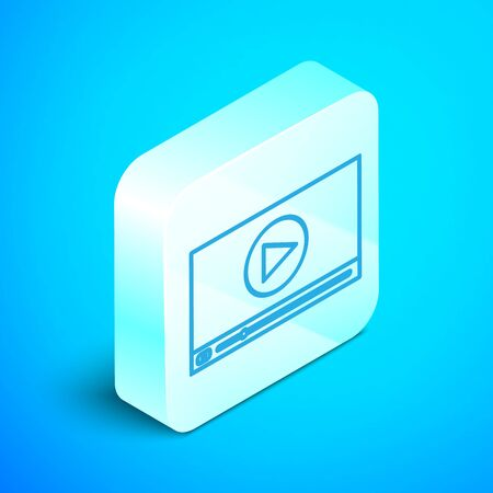 Isometric line Online play video icon isolated on blue background. Film strip with play sign. Silver square button. Vector Illustration