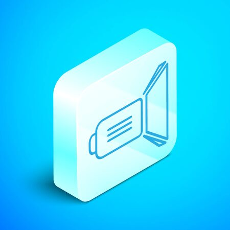 Isometric line Movie spotlight icon isolated on blue background. Light Effect. Scene, Studio, Show. Silver square button. Vector Illustration