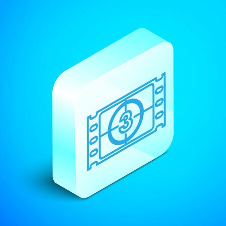 Isometric line Play Video icon isolated on blue background. Film strip with start sign. Silver square button. Vector Illustration Illustration
