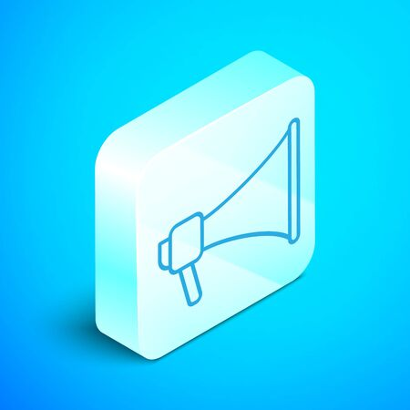 Isometric line Megaphone icon isolated on blue background. Speaker sign. Silver square button. Vector Illustration