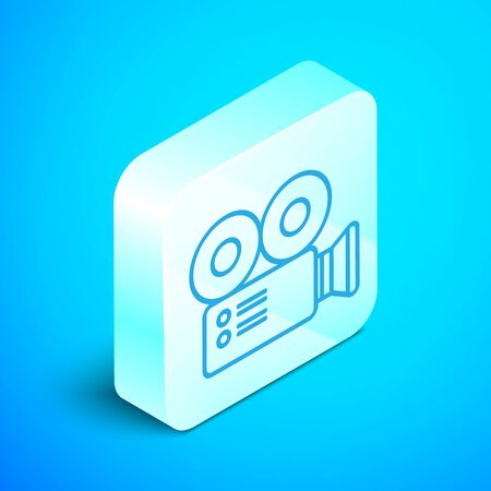 Isometric line Cinema camera icon isolated on blue background. Video camera. Movie sign. Film projector. Silver square button. Vector Illustration