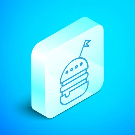 Isometric line Burger icon isolated on blue background. Hamburger icon. Cheeseburger sandwich sign. Fast food menu. Silver square button. Vector Illustration