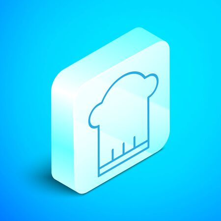 Isometric line Chef hat icon isolated on blue background. Cooking symbol. Cooks hat. Silver square button. Vector Illustration Standard-Bild - 133852717
