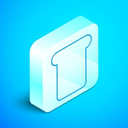 Isometric line Bread toast for sandwich piece of roasted crouton icon isolated on blue background. Lunch, dinner, breakfast snack. Silver square button. Vector Illustration