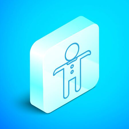 Isometric line Holiday gingerbread man cookie icon isolated on blue background. Cookie in shape of man with icing. Silver square button. Vector Illustration