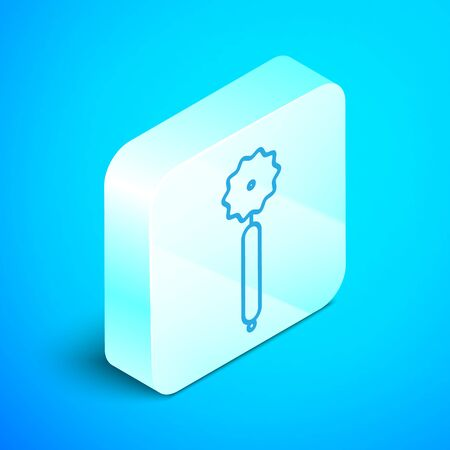 Isometric line Pizza knife icon isolated on blue background. Pizza cutter sign. Steel kitchenware equipment. Silver square button. Vector Illustration