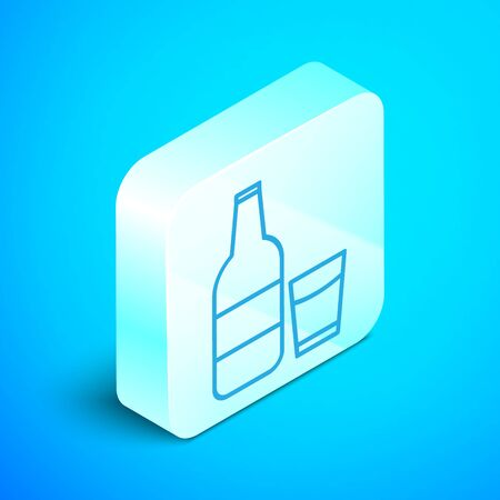 Isometric line Closed glass bottle with milk and glass icon isolated on blue background. Silver square button. Vector Illustration