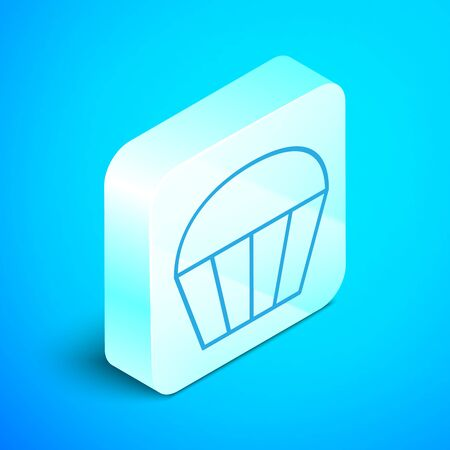 Isometric line Muffin icon isolated on blue background. Silver square button. Vector Illustration Ilustracja