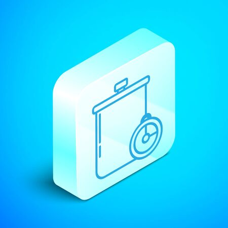 Isometric line Cooking pot and kitchen timer icon isolated on blue background. Boil or stew food symbol. Silver square button. Vector Illustration