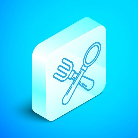 Isometric line Crossed fork and spoon icon isolated on blue background. Cooking utensil. Cutlery sign. Silver square button. Vector Illustration