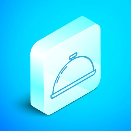 Isometric line Covered with a tray of food icon isolated on blue background. Tray and lid sign. Restaurant cloche with lid. Kitchenware symbol. Silver square button. Vector Illustration Ilustracja