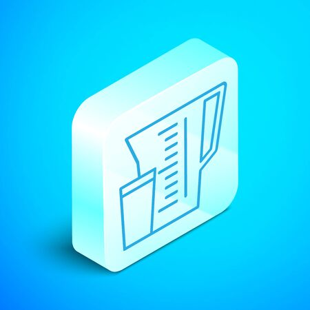 Isometric line Measuring cup to measure dry and liquid food icon isolated on blue background. Plastic graduated beaker with handle. Silver square button. Vector Illustration Stockfoto - 133852809