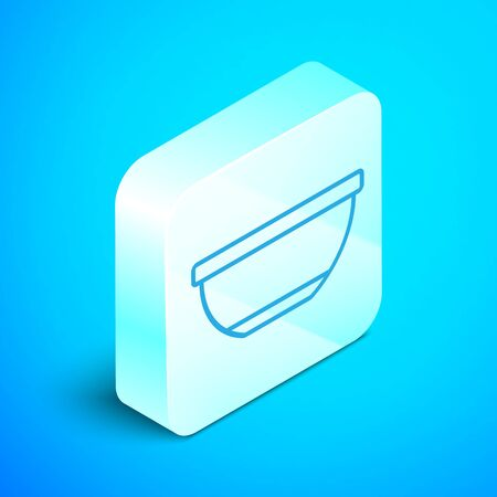 Isometric line Bowl icon isolated on blue background. Silver square button. Vector Illustration Ilustracja