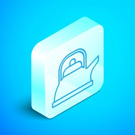 Isometric line Kettle with handle icon isolated on blue background. Teapot icon. Silver square button. Vector Illustration
