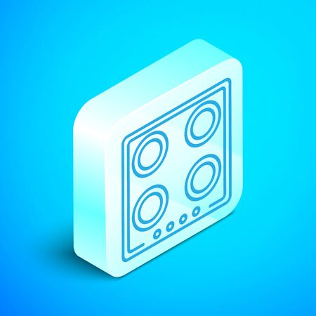 Isometric line Gas stove icon isolated on blue background. Cooktop sign. Hob with four circle burners. Silver square button. Vector Illustration