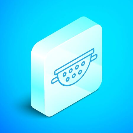 Isometric line Kitchen colander icon isolated on blue background. Cooking utensil. Cutlery sign. Silver square button. Vector Illustration