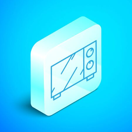 Isometric line Microwave oven icon isolated on blue background. Home appliances icon. Silver square button. Vector Illustration